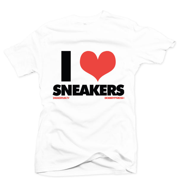 Bobby Fresh x SneakerTube I Love Sneakers White/Infrared Tee - Bobby Fresh