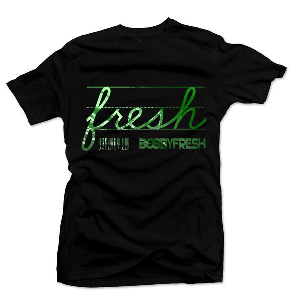 Bobby Fresh x Jackpot Co. Fresh Black/Green Metallic Foil Tee