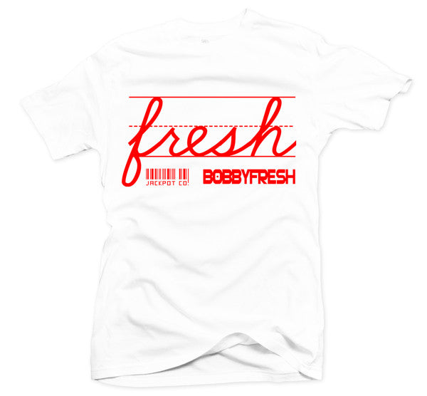 "Bobby Fresh x Jackpot Co. ""Fresh"" White/Red Tee - Bobby Fresh"