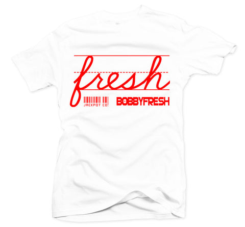 "Bobby Fresh x Jackpot Co. ""Fresh"" White/Red Tee"