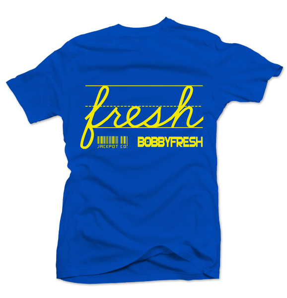 Bobby Fresh x Jackpot Co. - Fresh Royal Blue/Yellow Tee