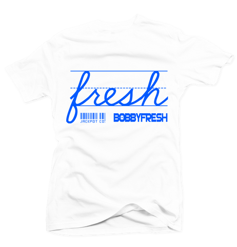 Bobby Fresh x Jackpot Co. - Fresh White/Royal Blue Tee