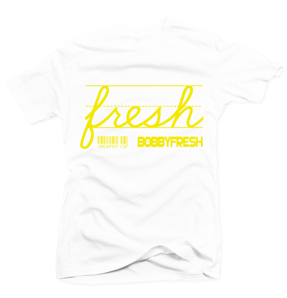 Bobby Fresh x Jackpot Co. - Fresh White/Yellow Tee