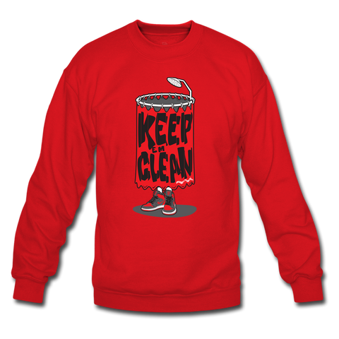 Keep 'Em Clean Red/Grey Crewneck