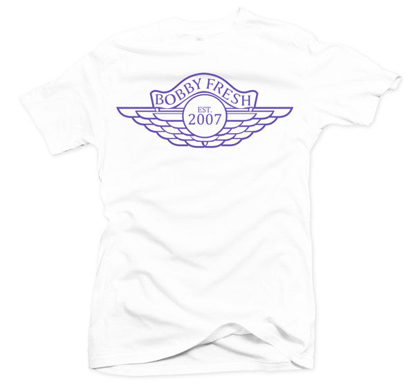 The Wings White/Purple Grape Tee - Bobby Fresh