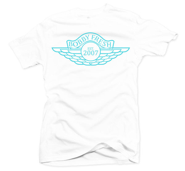 The Wings White/Teal Tee - Bobby Fresh