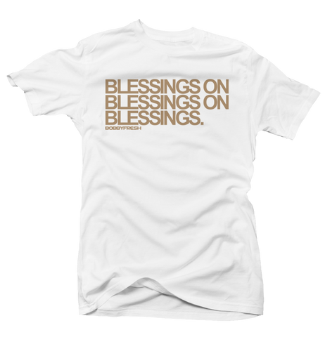 Blessings on Blessings White/Tan Tee