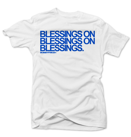 Blessings White/Blue Tee