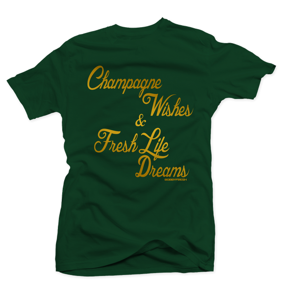 Champagne Wishes Green Tee