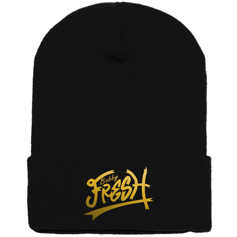 Feeling Fresh Black/Metallic Gold Beanie