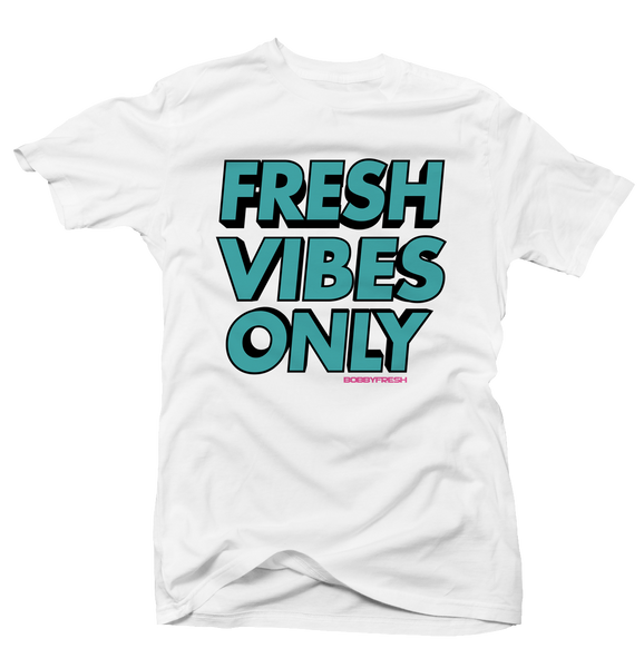 Fresh Vibes Only White Turbo 8 Tee