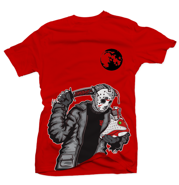 Friday the 13th Retro Grey Red Tee