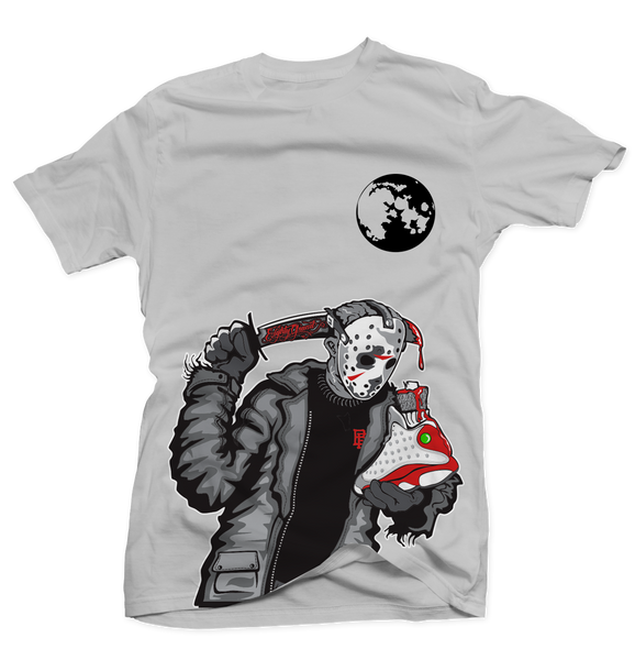 Friday the 13th Retro Grey Silver Tee