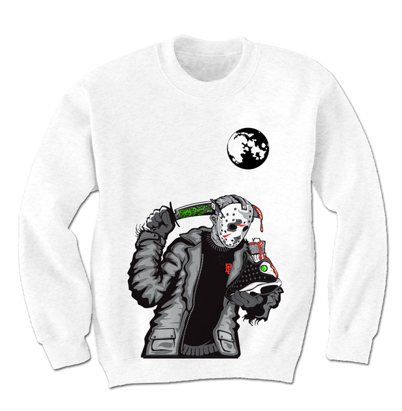Friday the 13 White Crewneck Sweater (Reverse He Got Game) - Bobby Fresh