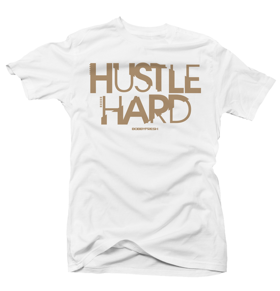 Hustle Hard White/Tan Tee