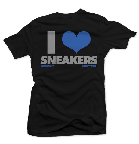 Bobby Fresh x SneakerTube I Love Sneakers Black Sport Blue Tee