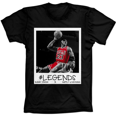 MJ over Ewing Respect Black Tee