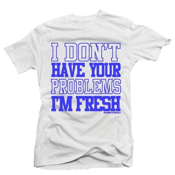Your Problems White/Colbalt Tee