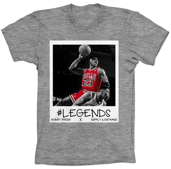 MJ over Ewing Respect Heather Grey Tee