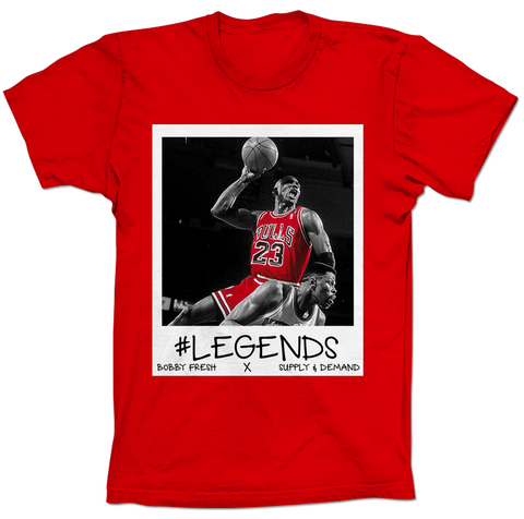 MJ over Ewing Respect Red Tee