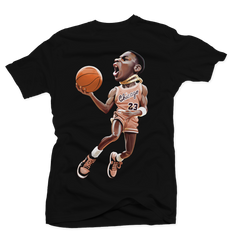 MJ 85 Black Tee (Crimson Tint)