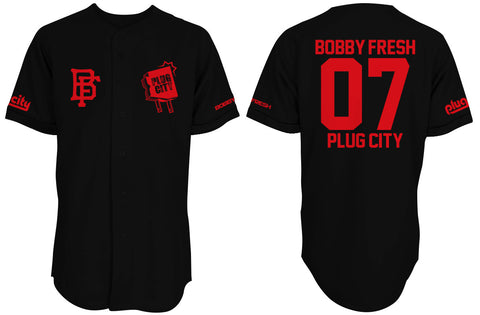 Bobby Fresh x Plug City Collab Blk/Red Baseball Jersey