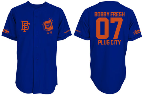Bobby Fresh x Plug City Collab Royal/Orange Baseball Jersey
