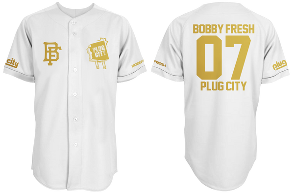 Bobby Fresh x Plug City Collab White/Gold Foil Baseball Jersey