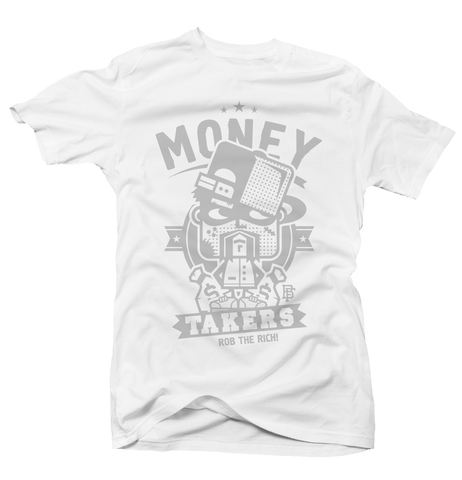 Rob the Rich Wht/Grey Tee