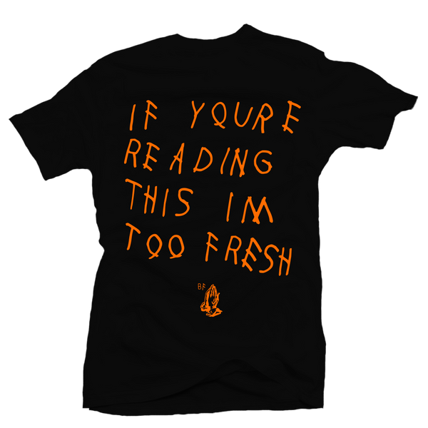 Too Late Black Orange Tee