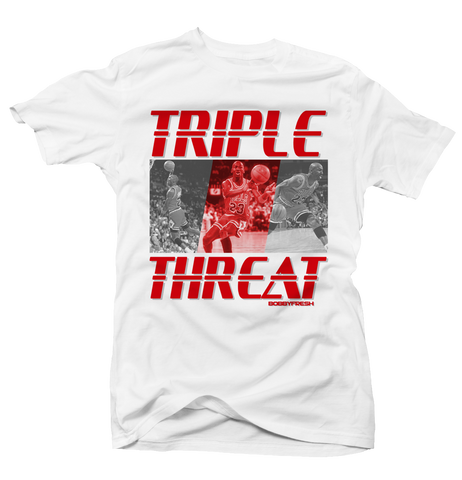 Triple Threat White Tee