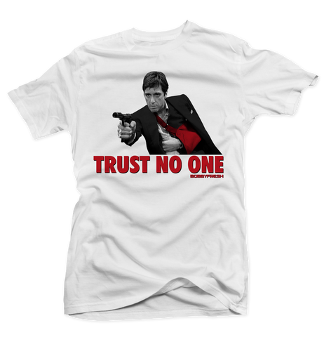 Trust No One (Fire Red) White Tee