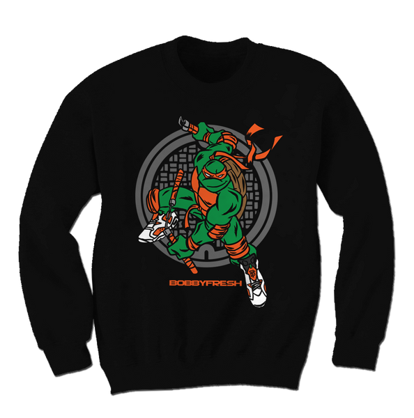 Turtle Power Black/Orange Crewneck