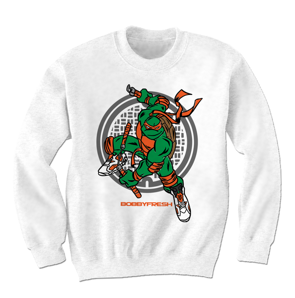 Turtle Power White/Orange Crewneck