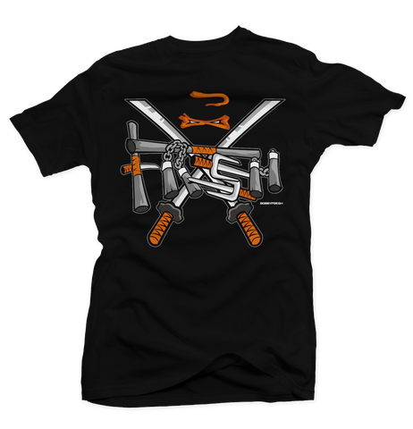Turtle (Orange) Black Tee