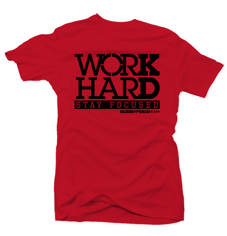 Work Hard Red/Black Tee