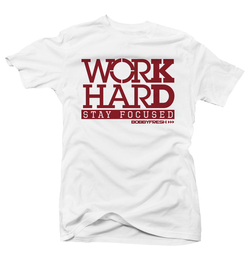 Work Hard Wht/Red Tee - Bobby Fresh