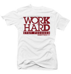 Work Hard Wht/Red Tee