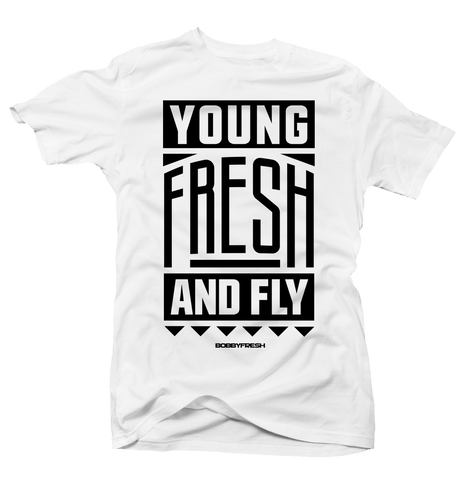 Young Fresh and Fly White Baron Tee