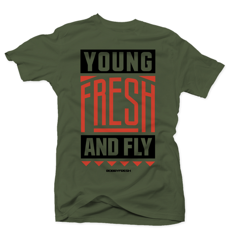 Young Fresh and Fly Army Green Tee