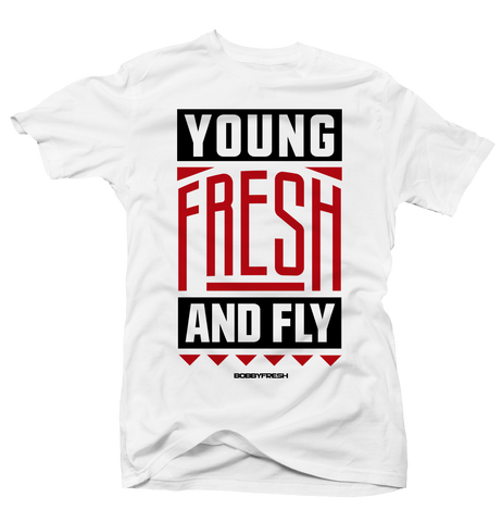 Young Fresh and Fly White tee (OG 13's)
