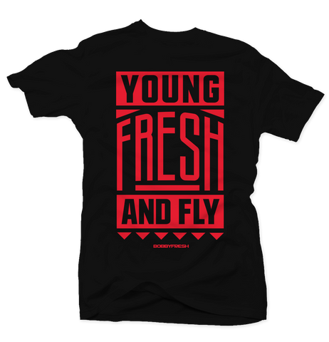 Young Fresh and Fly Black/Red Tee