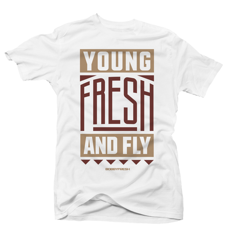 Young Fresh and Fly White/Tan Tee