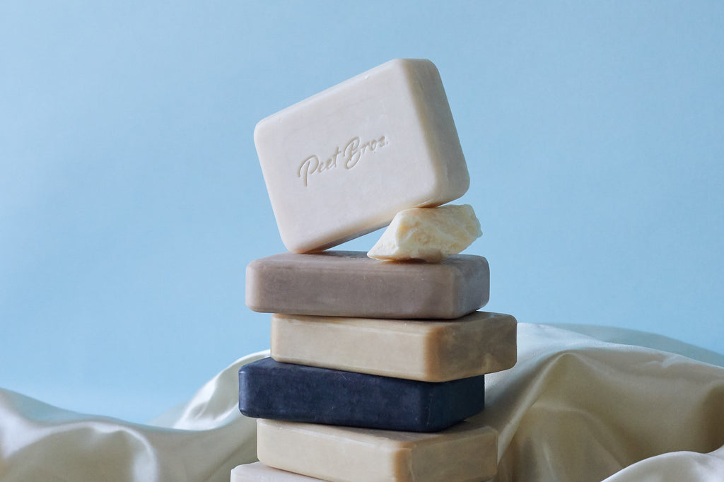 A stack of Peet Bros. Palm Oil Free Natural Bar Soaps