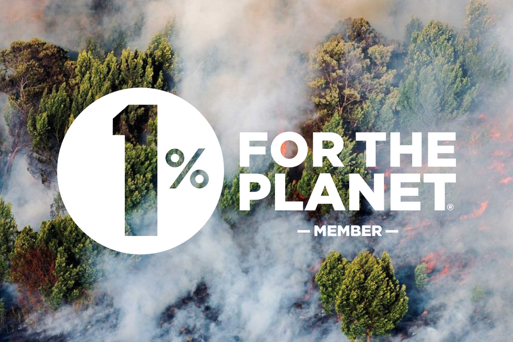 The circular logo of 1% for the Planet over an image of burning rainforest.