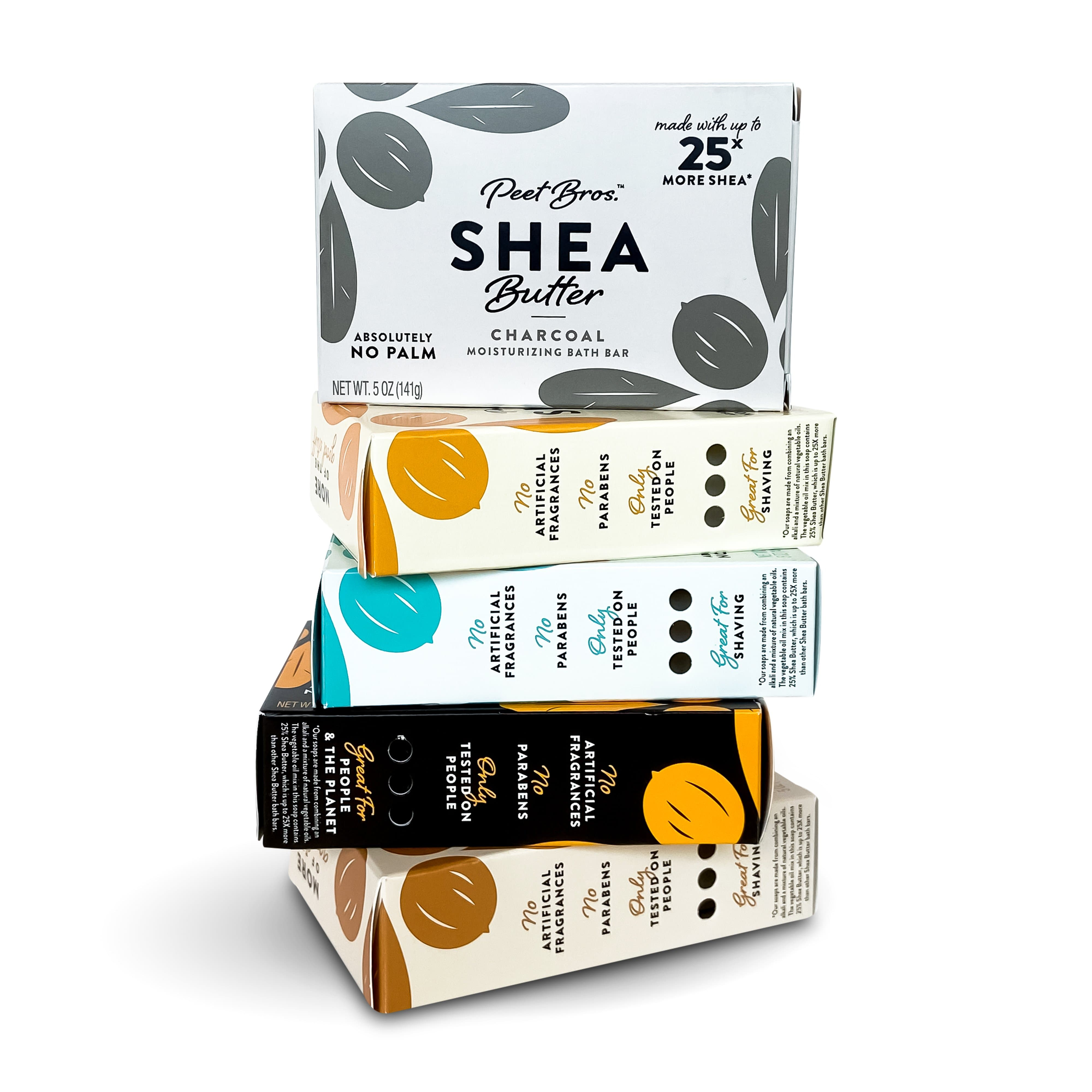 stack of bar soap packages showing the five varieties of shea butter soap
