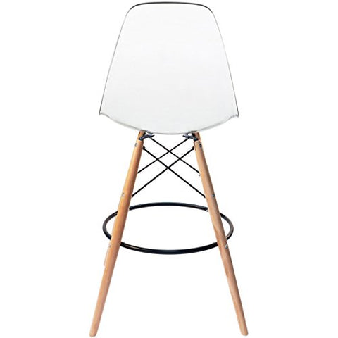 Surprising 2Xhome Clear 28 Seat Height Dsw Molded Plastic Bar Stool Modern Barstool Counter Stools With Backs And Armless Natural Legs Wood Eiffel Legs Machost Co Dining Chair Design Ideas Machostcouk