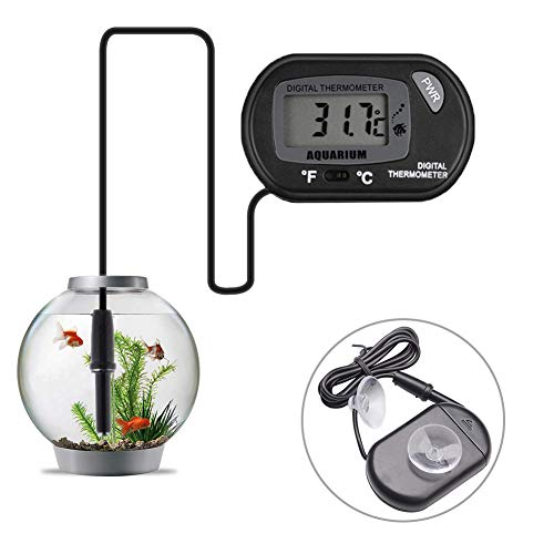 Vkermury Aquarium Thermometer Digital Fish Tank Water LCD Black with Suction Cup for Measuring Pond Marine Temperature