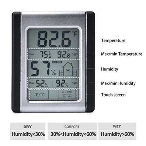 MIN//MAX Records Office VEVICE Digital Hygrometer Thermometer Touch Screen Portable Indoor Outdoor Humidity Temperature Monitor Basement,Greenhouse for Home Babyroom