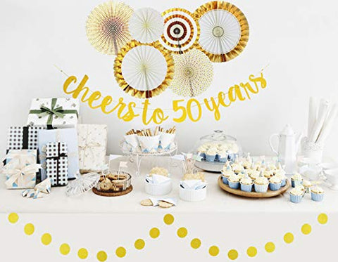 50th Birthday Anniversary Party Decorations For Women And Men Cheers To 50 Years Glittery Gold Banner And Circle Garland Gold And White